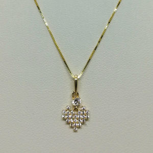 Jewelry - 14k Full Heart CZ Diamond Cluster Style Pendant